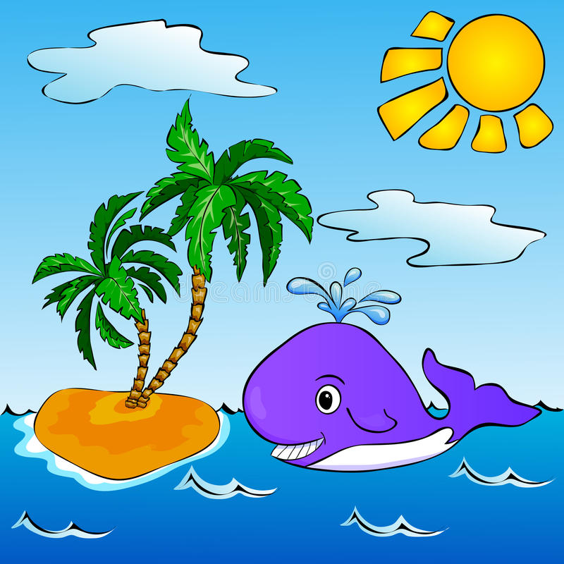 Whale near the tropical island with palms royalty free illustration