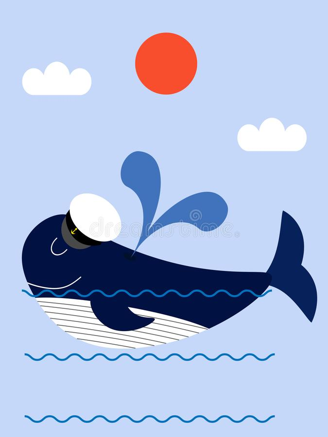The whale in the ocean royalty free illustration