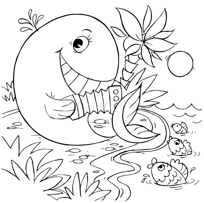 Whale plays the accordion. Black-and-white illustration (coloring page): funny whale playing the accordion for fishes vector illustration