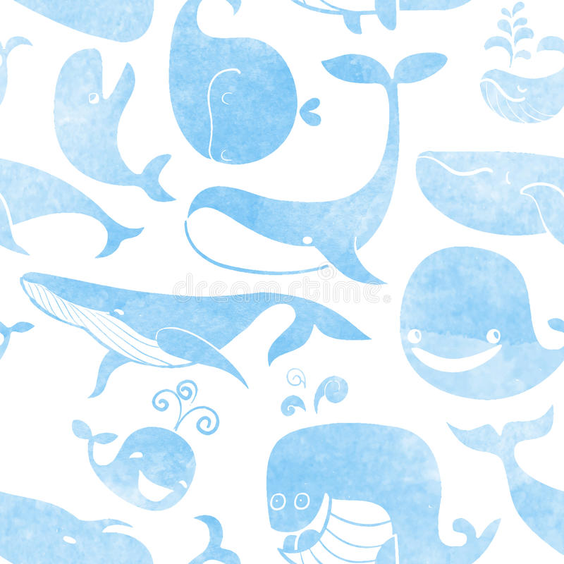 Whale. Seamless Pattern. Water Color Background. Seamless Patter Royalty Free Stock Image