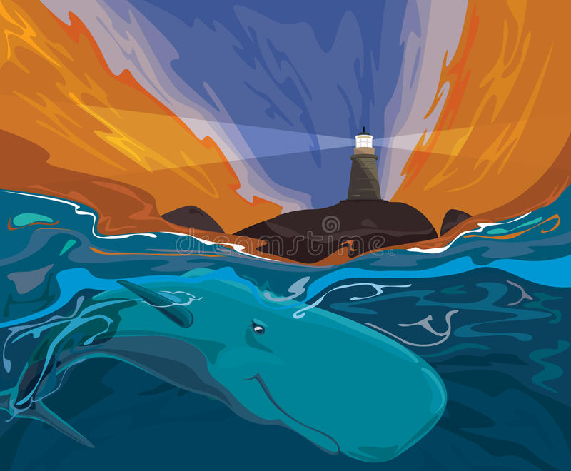 Whale singing in tropical waters in near of lighthouse island. At nightfall vector illustration