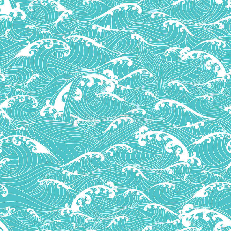 Whale swimming in the ocean waves, pattern seamless background vector illustration