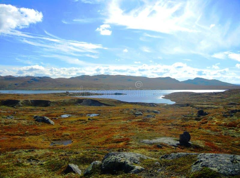 Mountain plateau on a sunny autumn day stock photography