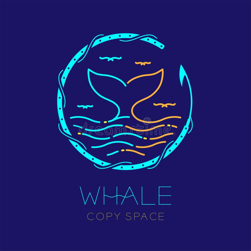 Free Whale Tail, Seagull, Wave And Harpoon Circle Frame Shape, Logo Icon Outline Stroke Set Dash Line Design Illustration Royalty Free Stock Images - 120756089