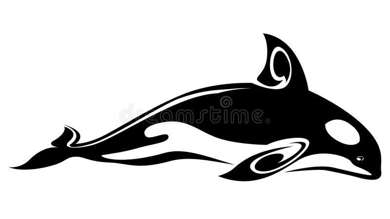 Whale tattoo. Wild whale tattoo for design isolated on white