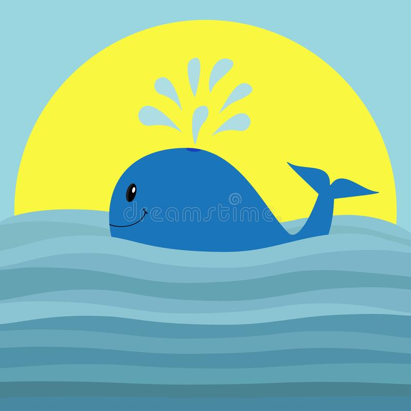 Whale with water fountain. Sea ocean wave. Sunset. Cute cartoon character with eyes, tail, fin. Smiling face. Kids baby animal col stock illustration