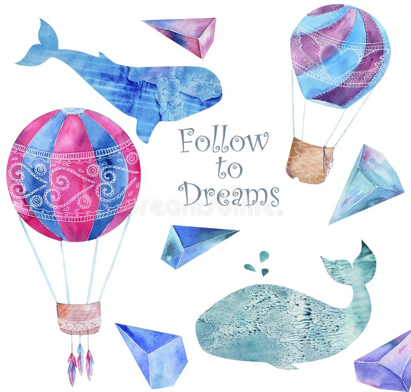 Whale watercolor fantasy whale Balloon and crytstal Follow to Dream flying blue ocean sea deep character drawing illustration geom. Whale watercolor fatasy whale vector illustration