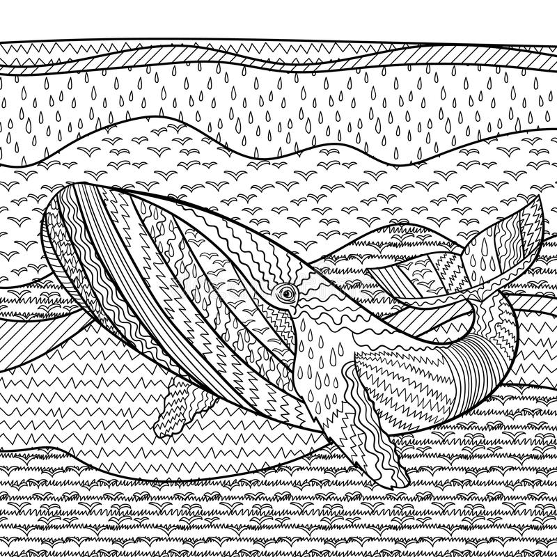 Whale In The Waves For Anti Stress Coloring Page Stock