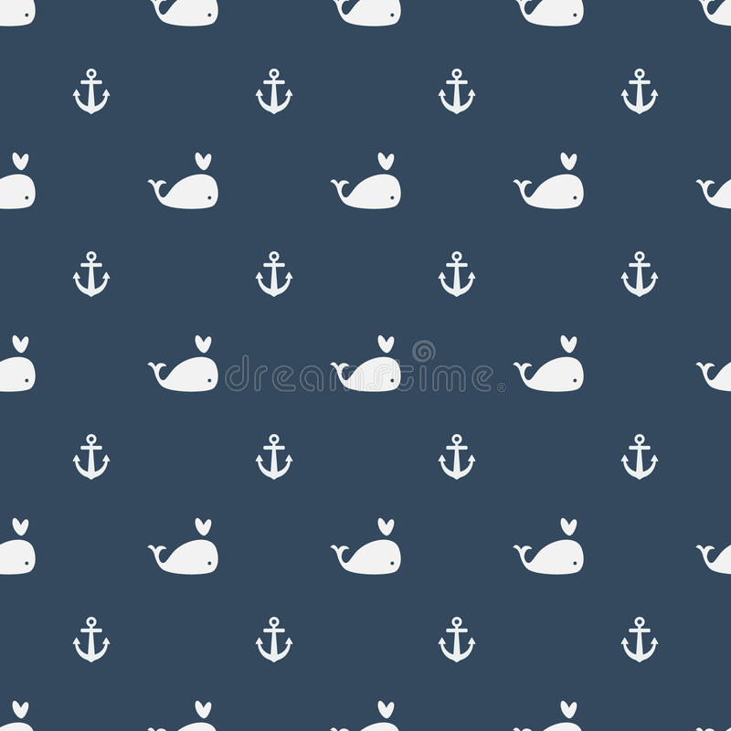 Whales Seamless pattern with anchors on blue background. stock illustration