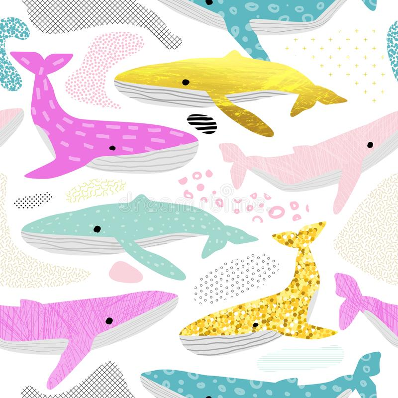 Whales Seamless Pattern. Childish Marine Background with Abstract Elements. Baby Oceanic Doodle for Fabric Textile vector illustration