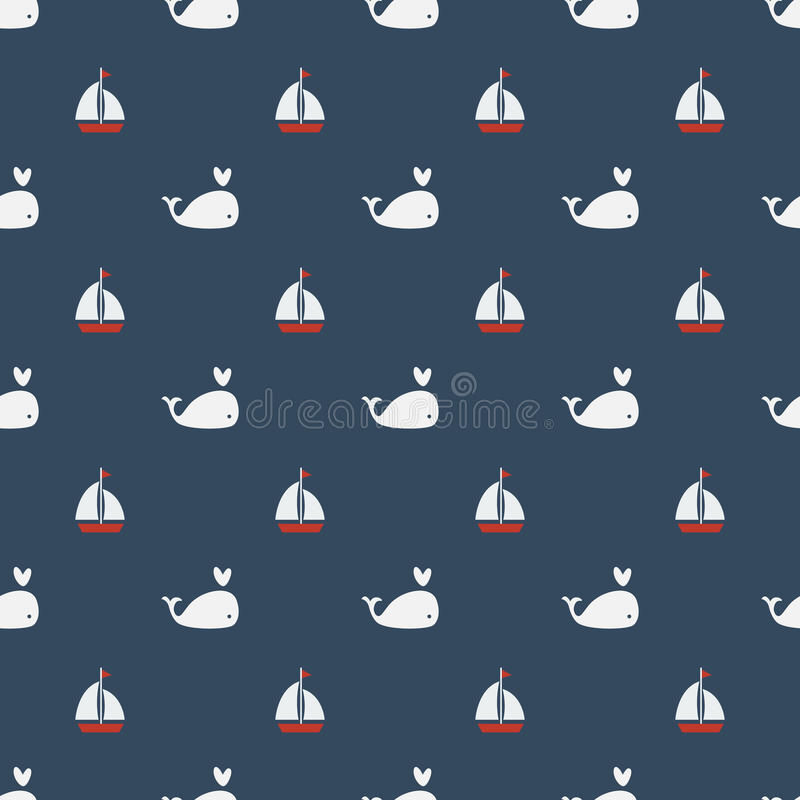 Whales Seamless pattern with sailing boat on blue background. stock illustration