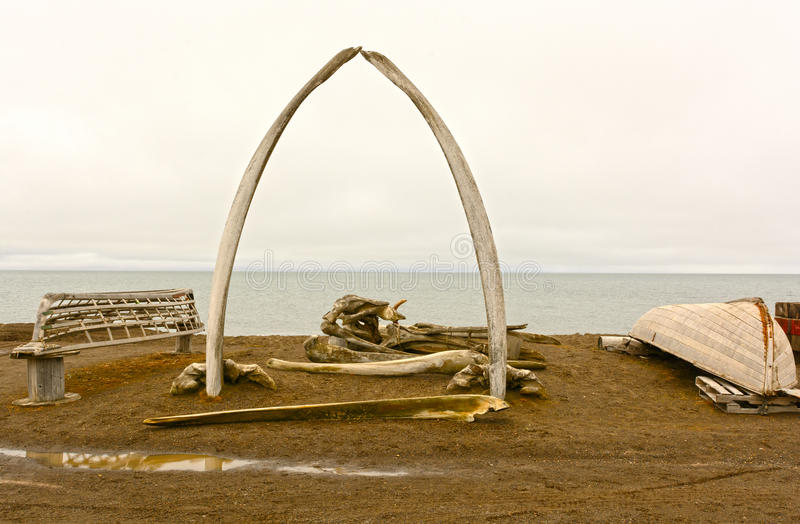 Whaling Monument in a Native Whaling Village stock photography