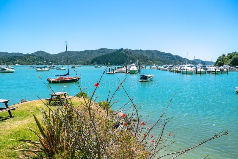 Whangaroa Harbour and marina, Far North, Northland, New Zealand. Whangaroa Harbour and marina, Far North District, Northland, New Zealand NZ - moored boats and royalty free stock image