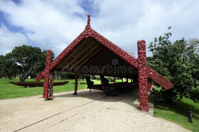 Whare Waka (Canoe house). WAITANGI - OCTOBER 02: The Whare Waka (Canoe house) with 35 metre Waka (war canoe) on Oct 02 2012 in Waitangi National Reserve, Bay of stock image
