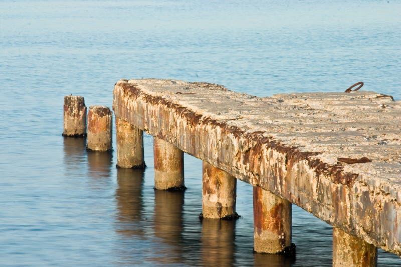 Wharf. An unsafe wharf lead to the sea royalty free stock photo