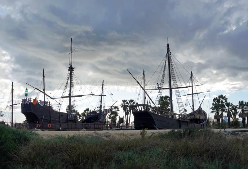 Replica of Columbus ships at the Wharf of Carvels in Huelva ,Spain royalty free stock image
