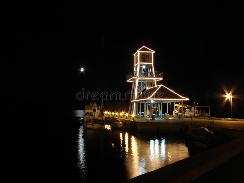 Wharf at night stock photography