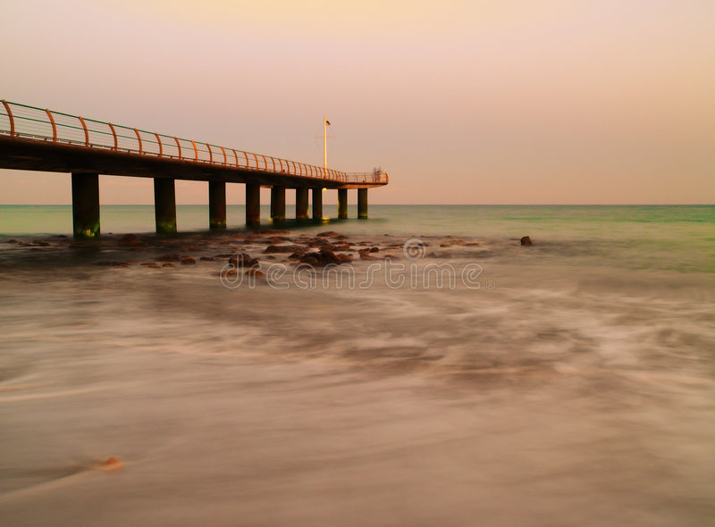 Wharf and ocean stock photography