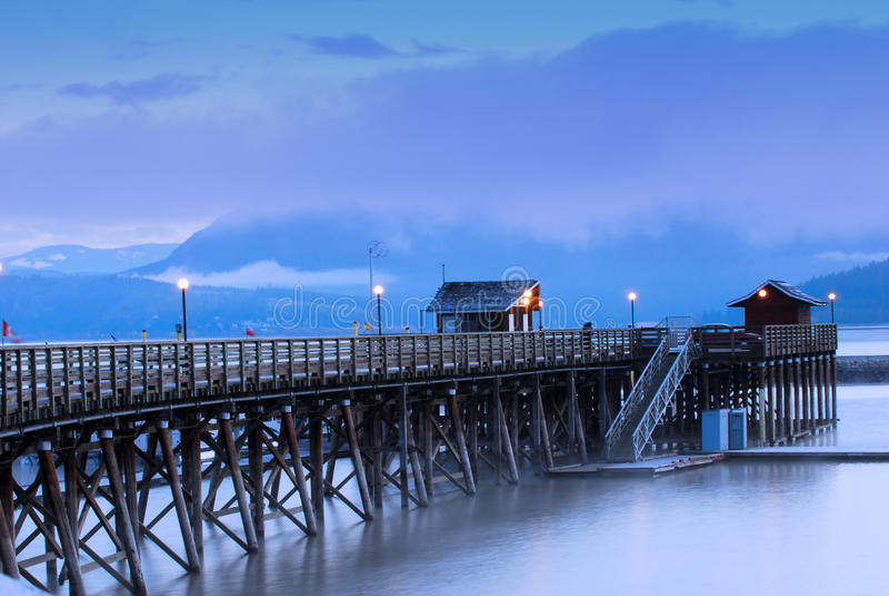 Wharf on Shuswap Lake stock image