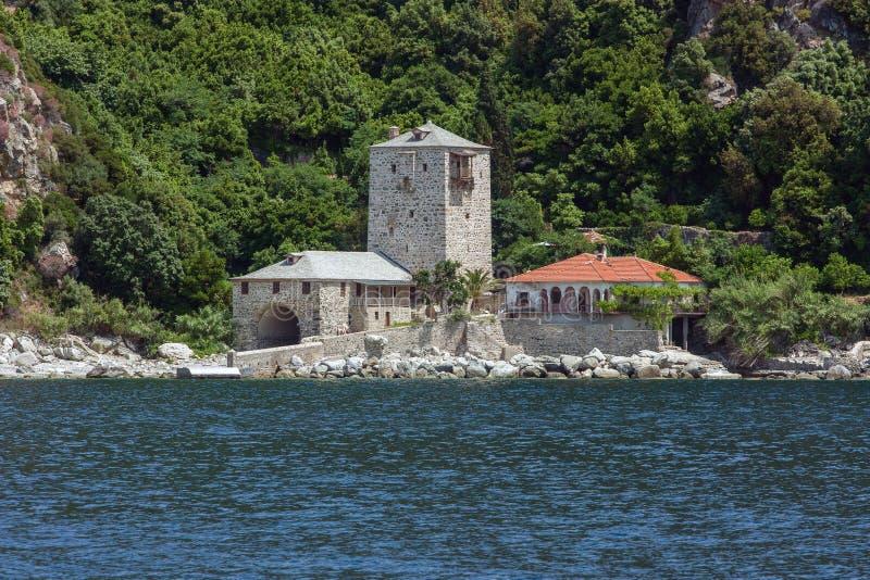 Wharf of Simonopetra monastery, Mount Athos stock photo