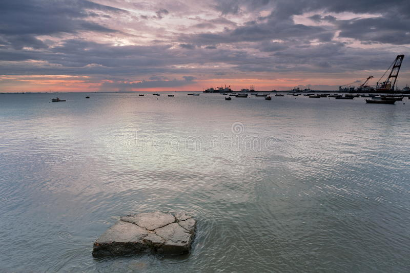 Download Wharf sunset stock image. Image of rock, tide, fishing - 25999999