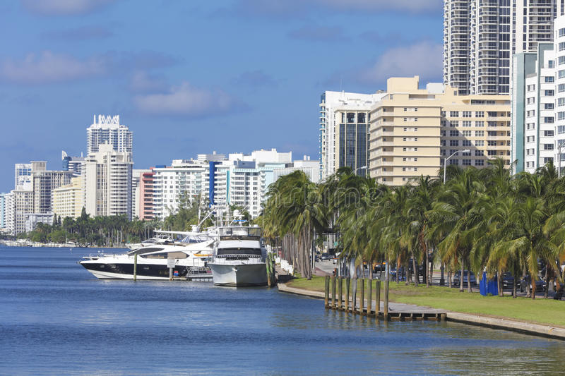 Wharf with yachts at the residentials of Miami Beach, Florida stock photos