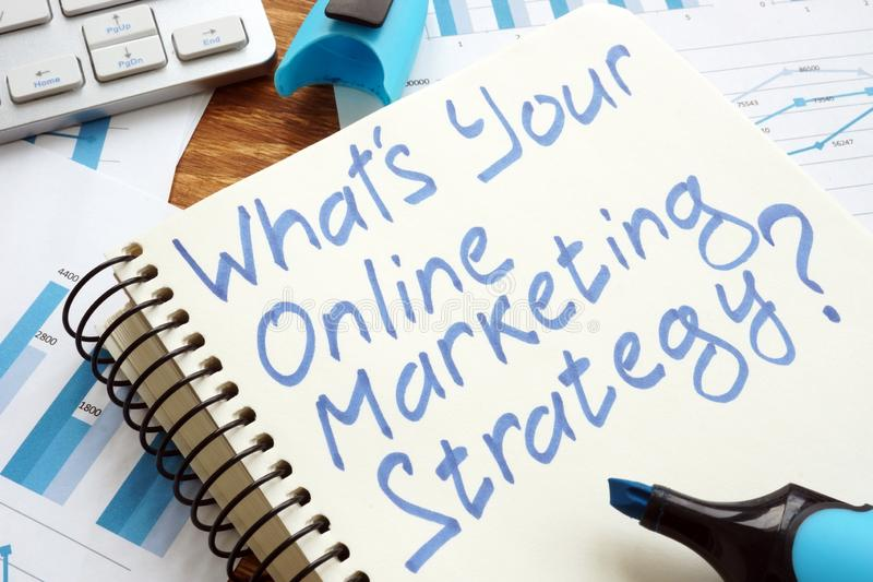 What's Your Online Marketing Strategy? Book and keyboard stock images