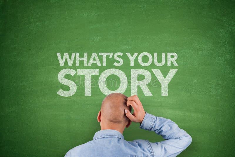 WhatÂs din berättelse på svart tavla arkivfoto