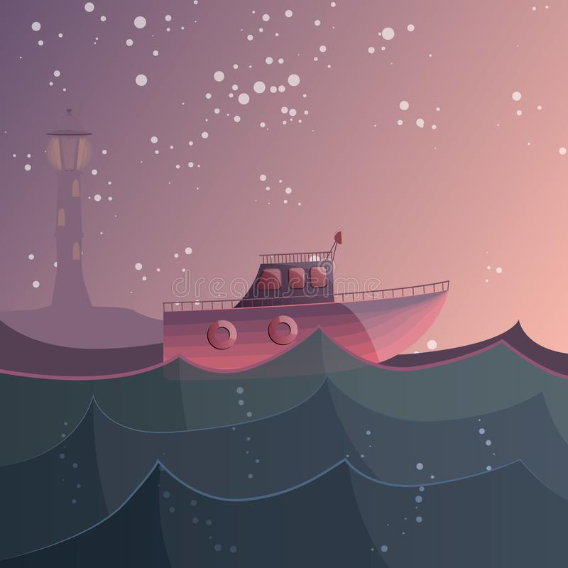 Free What A Small Boat Did Not Dream Of Conquering An Endless Ocean. Vector Illustration Royalty Free Stock Photos - 116391148