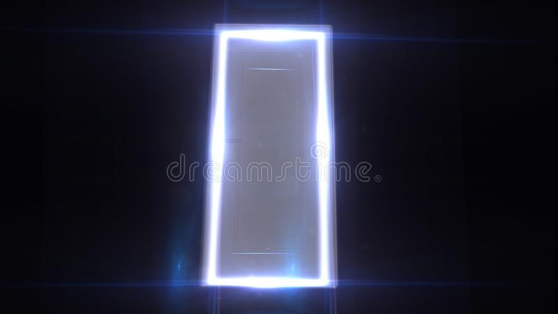 What is behind the door Light passes through the door. Behind the door. Mystery. Mystic.  stock images
