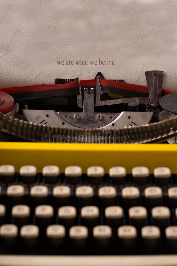Download Vintage Typewriter -we Are What We Belive Stock Image - Image of classic, write: 116825671