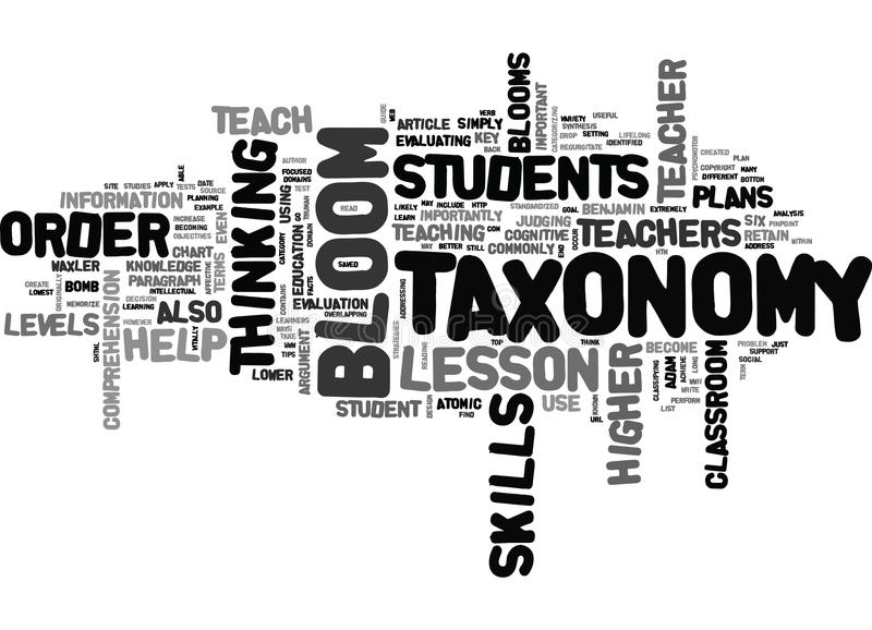 What Is Blooms Taxonomy Word Cloud. WHAT IS BLOOMS TAXONOMY TEXT WORD CLOUD CONCEPT stock illustration