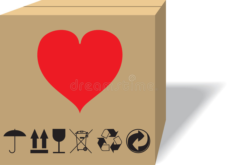 What in a cardboard box?. A illustration. It is isolated on a white background stock illustration