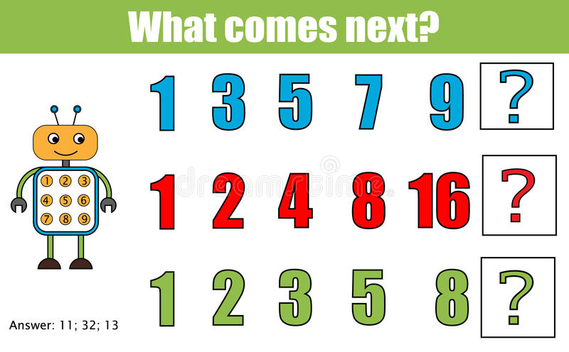 What comes next educational children game. Kids activity sheet, continue the row task. Mathematics game stock illustration