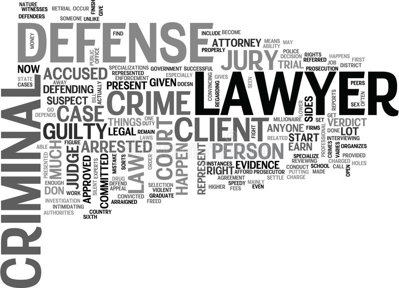 What Is A Criminal Defense Lawyer Word Cloud. WHAT IS A CRIMINAL DEFENSE LAWYER TEXT WORD CLOUD CONCEPT royalty free illustration