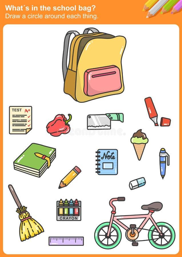 Whatin de schooltas? Trek een cirkel rond elk ding vector illustratie