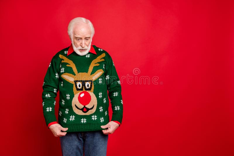 What did i get. Portrait of amazed shocked old man look at reindeer pattern sweater for christmas theme party received. What did i get. Portrait of amazed stock photos