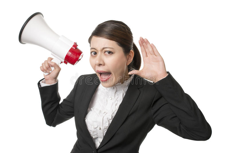What did you say. Businesswoman Using a Megaphone say what did you say royalty free stock photos