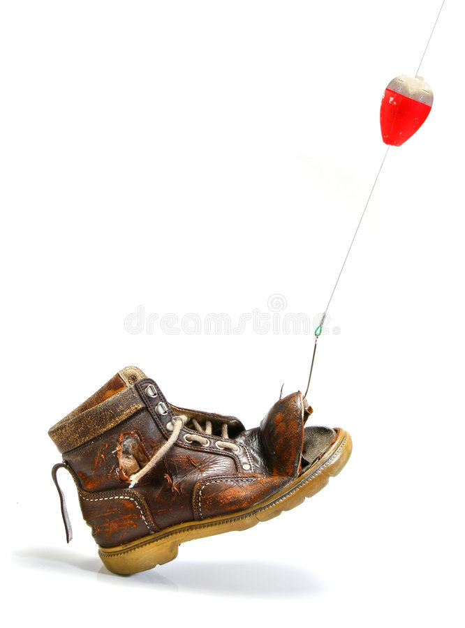 What disappointment! a shoe instead of a fish stock photos