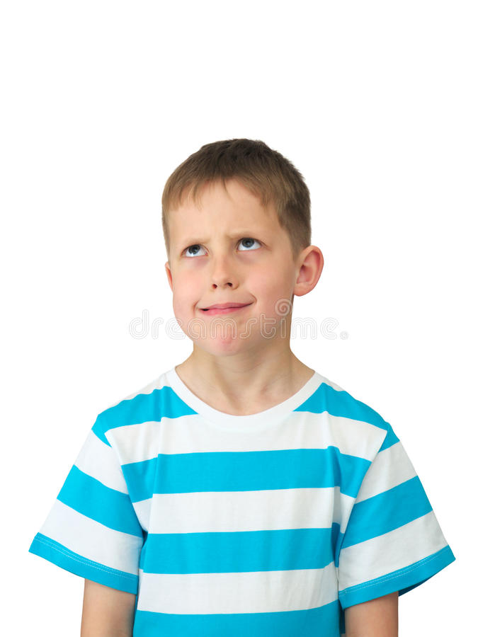 What? - displeased little boy, eyes rolled up royalty free stock photos