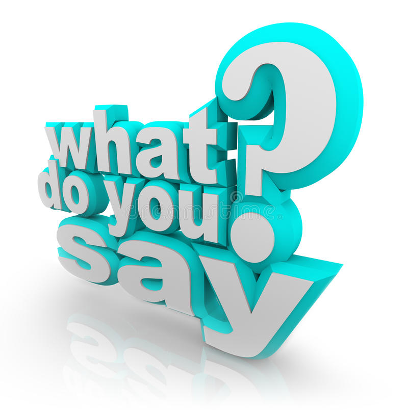 What Do You Say 3D Illustrated Words Question Mark stock illustration