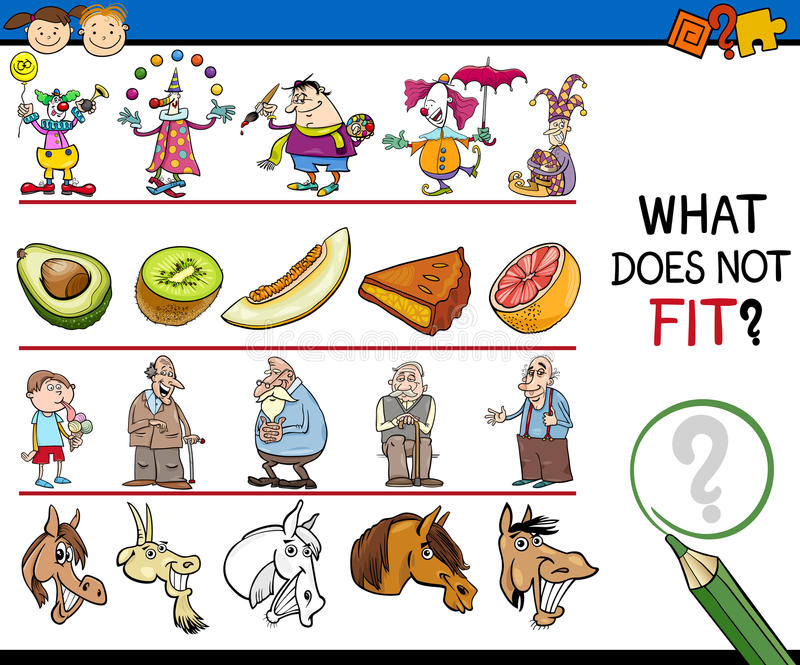 What does not fit game cartoon stock illustration