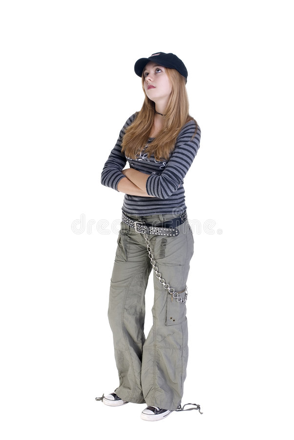 What Ever.....!!. A young high school teenage girl dressed to be different...and not listening to you royalty free stock photo
