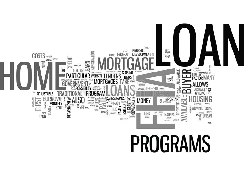 What Is An Fha Mortgage Loan Word Cloud royalty free illustration