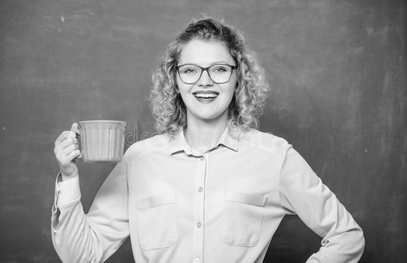 What a great morning. school teacher need coffee break. woman with coffee cup at blackboard. idea inspiration. good royalty free stock images