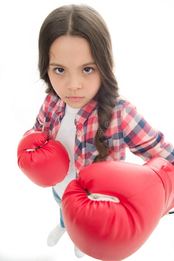 That is what I think. Girls power. Every kid should know how defend own point of view. Girl seriously defending her. Opinion. Child serious face with gloves royalty free stock photos