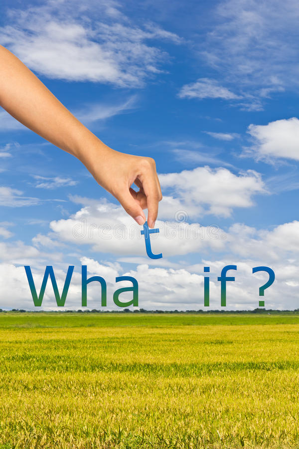 What if analysis. Hand putting alphabet, rice field and blue sky background, what if analysis concept vector illustration