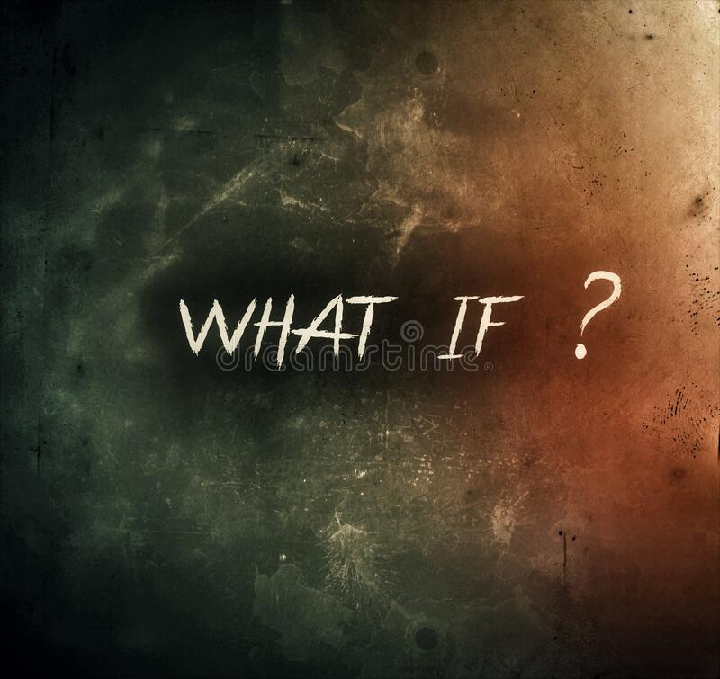 What if ask and question mark rough and dark background royalty free illustration