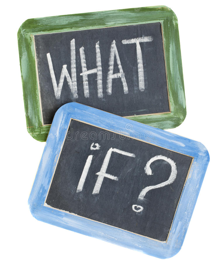 What if question. White chalk text on two vintage slate blackboards, isolated on white stock image