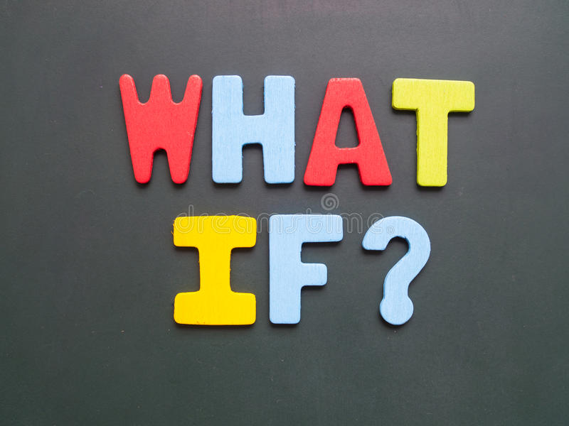 What If? wording on blackboard. What If? wording - colorful uppercase letter what if on blackboard royalty free stock photography